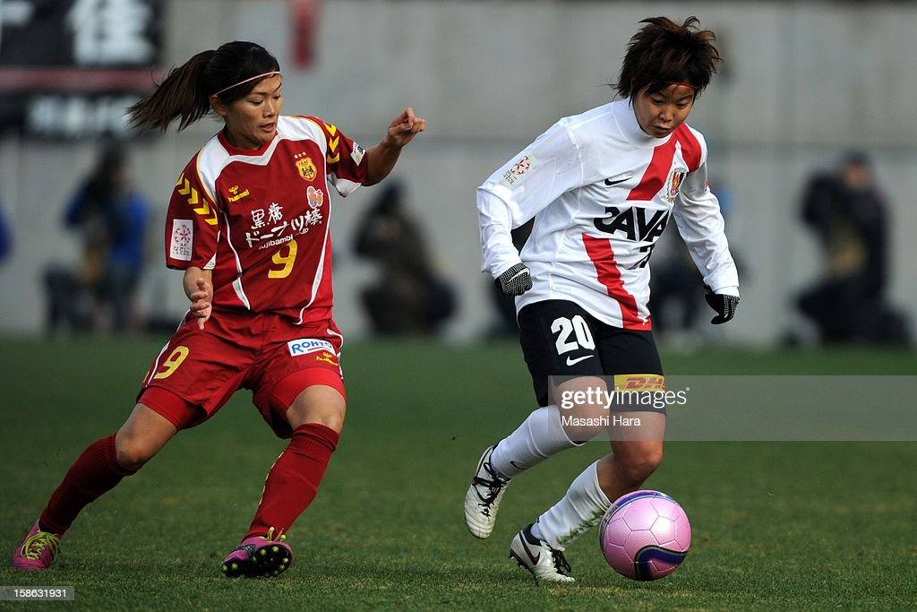 Chika Kato #20 of Urawa Red Diamonds Ladies in action during the 34th Empress's Cup All Japan Women's Football Tournament semi final match between INAC Kobe Leonessa and Urawa Red Diamonds Ladies at Nack 5 Stadium Omiya on December 22, 2012 in Saitama, Japan.