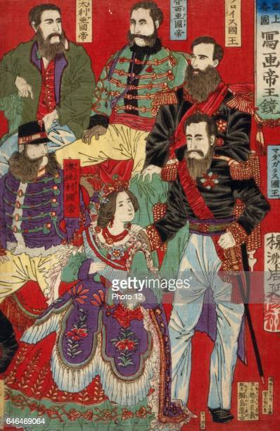 Chikanobu Hashimoto Japanese school Section of triptych of world leaders such as Emperor of Italy Emperor of Austria King of Turkey Photo12/UIG via...