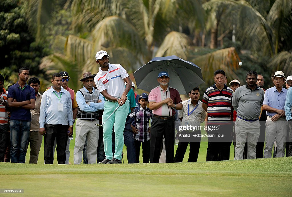 Chikkarangappa S.of India plays a shot during round four of the Bashundhara Bangladesh Open at Kurmitola Golf Club on February 13, 2016 in Dhaka, Bangladesh.