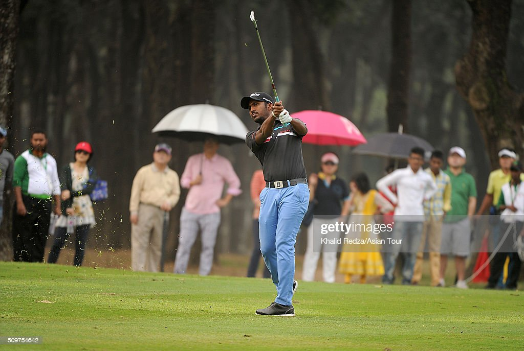 Chikkarangappa S.of India plays a shot during round three of the Bashundhara Bangladesh Open at Kurmitola Golf Club on February 12, 2016 in Dhaka, Bangladesh.
