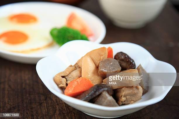 Chikuzenni and sunny-side up egg