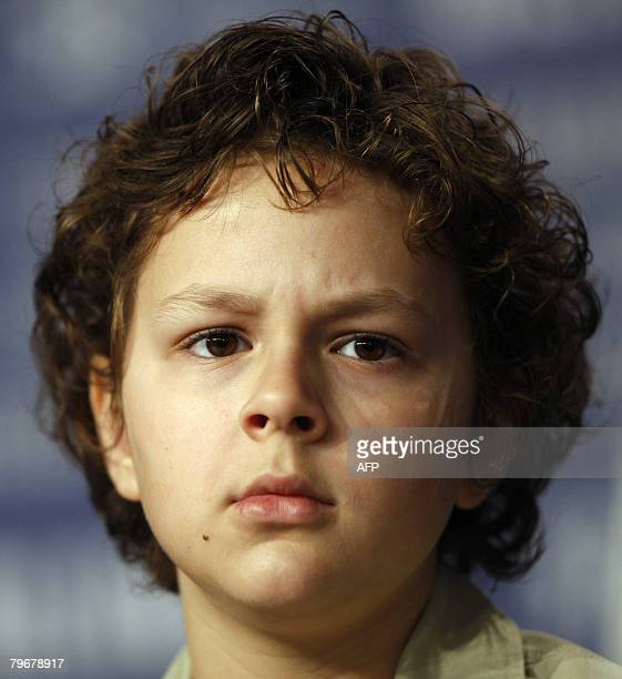 US child actor Aidan Gould attends a press conference about the movie 'Julia' by French director Erick Zonca and presented in competition for the...