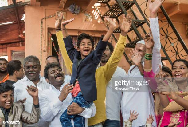 Child actor Sunny Pawar during his grand reception by his relatives and friends in his locality on March 1 2017 in Mumbai India The eightyearold...