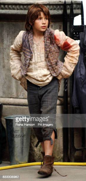 Child actor William Miller on set for his role as Oliver in a BBC production of Oliver Twist scheduled for later this year outside the High Court in...