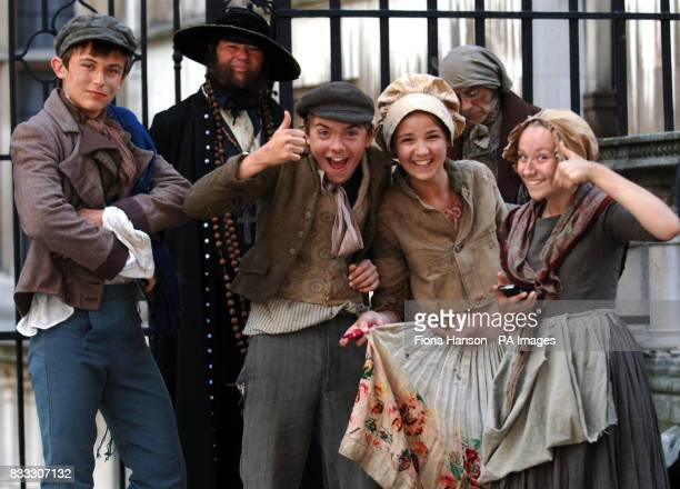 Child actors on set for their roles in a BBC production of Oliver Twist scheduled for later this year outside the High Court in central London today