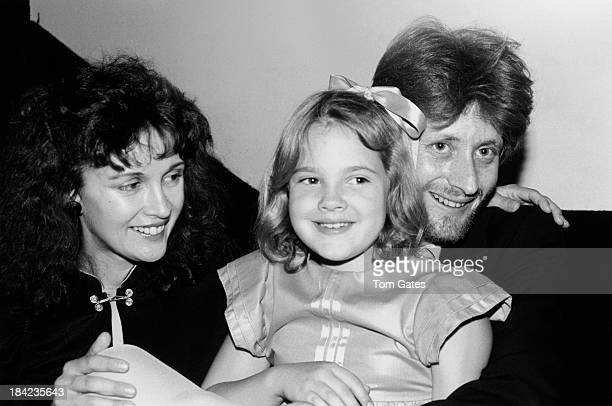 Child actress Drew Barrymore with her mother Jaid Barrymore and her halfbrother John Blyth Barrymore at a tribute to her grandfather actor John...