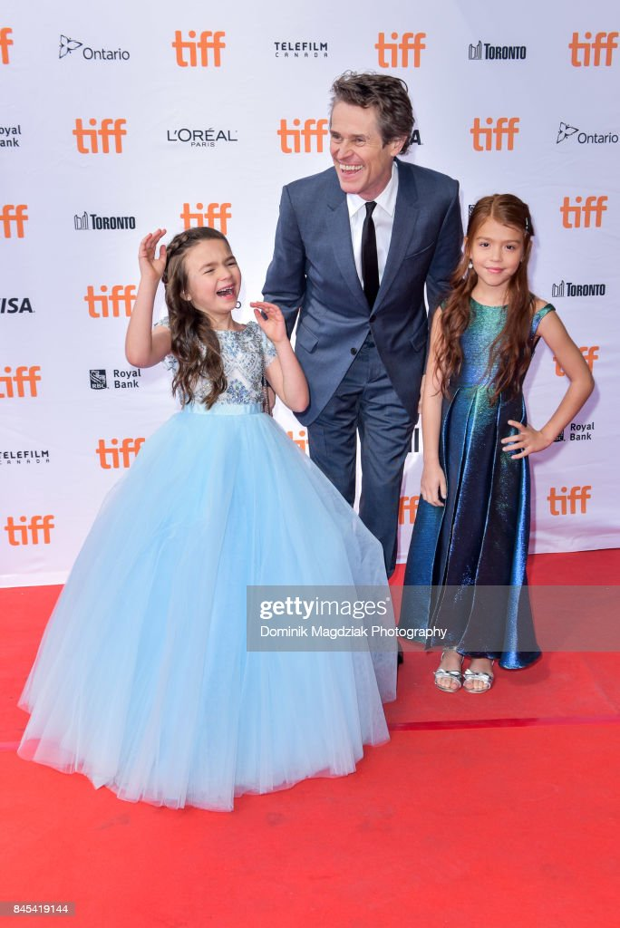 Child actresses Brooklynn Prince, Valeria Cotto and actor Willem Dafoe attend the 'The Florida Project' premiere at the Ryerson Theatre on September 10, 2017 in Toronto, Canada.