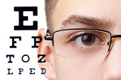 Child an ophthalmologist .Portrait of a boy with glasses.  Eye exams. Check Table view. Macro studio shoot profile