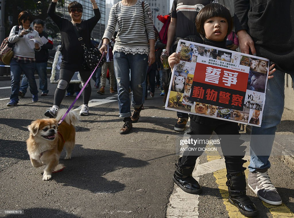 A child and a canine attend a pro-animal rights rally in Hong Kong on January 13, 2013. The rally, organised on social media site Facebook, attracted around 1000 supporters who rallied for the police to take stronger action against the abuse of animals and to protect the rights of animals. AFP PHOTO / Antony DICKSON