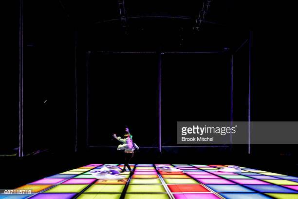 A child at the media preview of the Trapdoor installation for Vivid Festival at Barangaroo Park Sydney Trapdoor is described by its creators as an...