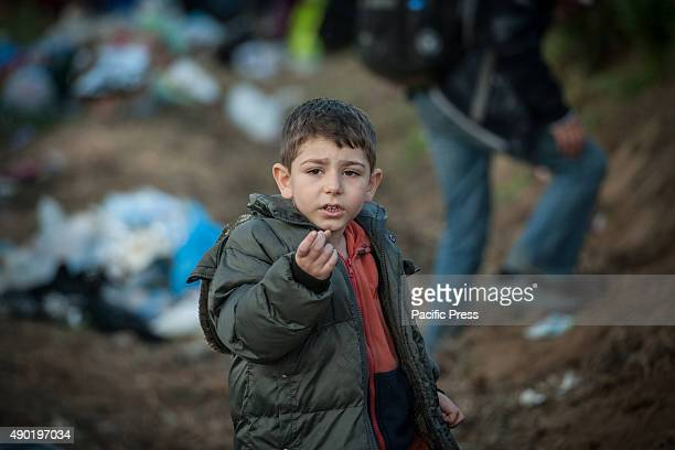 BORDER BAPSKA SYRMIA CROATIA A child at the refugee camp of Bapska Millions of refugees flee from their countries to seek asylum from safer places...
