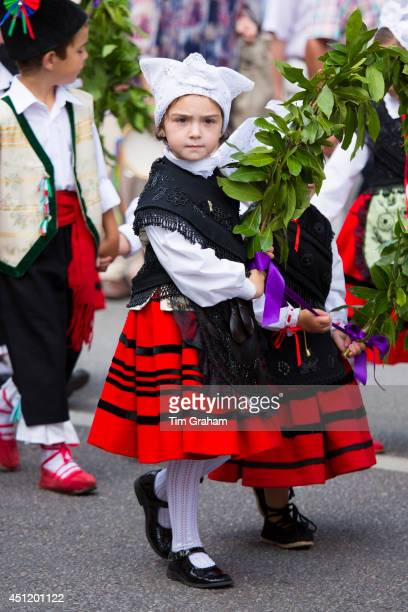 Child at traditional fiesta at Villaviciosa in Asturias Northern Spain