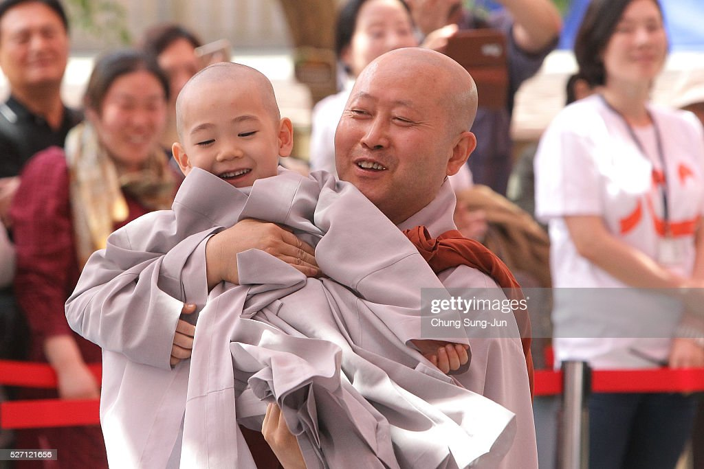 A child attends the 'Children Becoming Buddhist Monks' ceremony forthcoming buddha's birthday at a Chogye temple on May 2 2016 in Seoul South Korea...