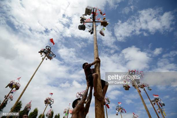 TOPSHOT A child climbs a greased pole on which prizes and flags are attached to celebrate Indonesia's Independence Day in Denpasar on the Indonesian...