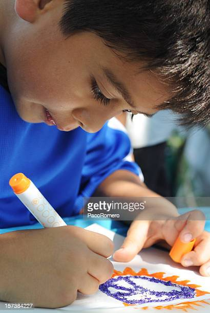Child concentrating on drawing