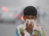 A child covers its face to take precaution from the air pollution by a mixture of pollution and fog at NCR region on November 7 2012 in New Delhi...