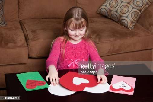 Child Creating Valentines Day Cards Photo – Creating Valentine Cards
