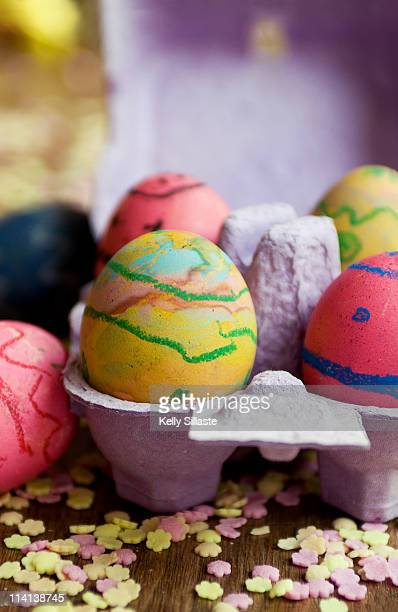 Child decorated Easter eggs