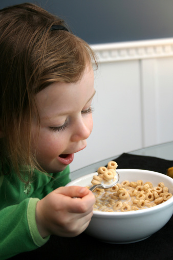 Girl Child Bowl Milk Cereal Stock Photos and Pictures ...