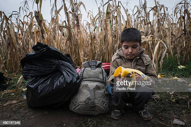 A child eats a banana while waiting for a chance to cross the SerbianCroatian border at the refugee camp of Bapska Millions of refugees flee from...
