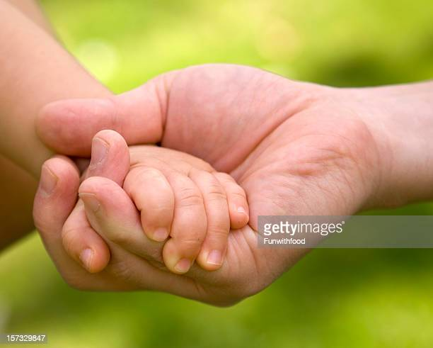 Child & Family Parent Holding Hands, Father Caring for Baby Son