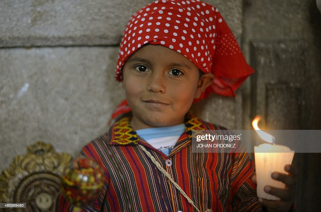 A child fancy dressed as Juan Diego attends the celebration of the apparition of the Virgin to Juan Diego in Mexico in 1531 at the basilica of the...