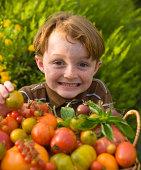 'Child Gardener with Homegrown Heirloom Tomatoes, Garden Vegetabl'