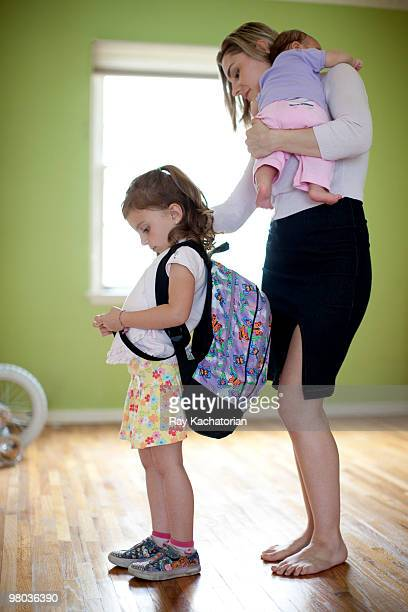 child getting ready to go to school