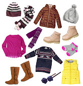 Fashion child girl's clothes set isolated on white. Autumn winter apparel collage.
