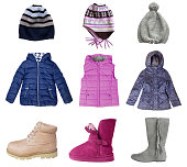 Сhild girl clothes set isolated on white. Winter autumn fall season kid's fashion items collage.