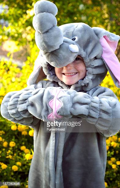 Child & Halloween Elephant Costume, Cute Boy Smiling & Happy