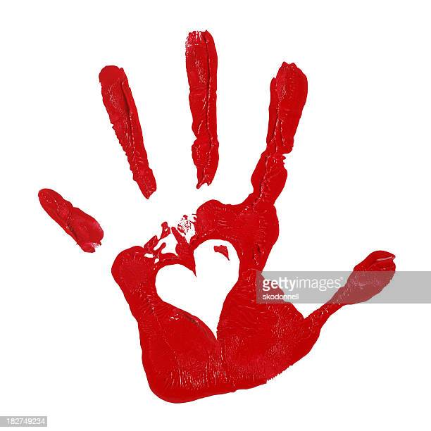 Child Hand Print with Red Paint and Heart Shape
