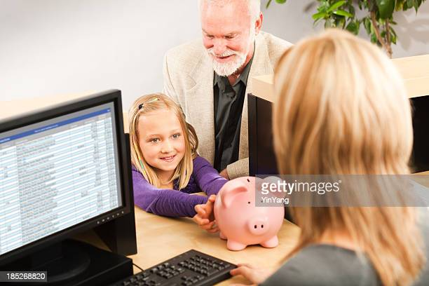 Child Handing Coin Piggy Bank, Opening Bank Account with Teller