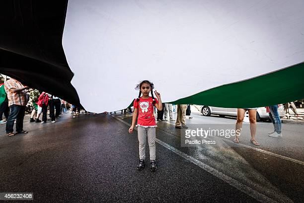 A child helps wave a huge Palestinian flag during a demonstration in Rome to denounce Israel's military campaign in Gaza and to show their support to...