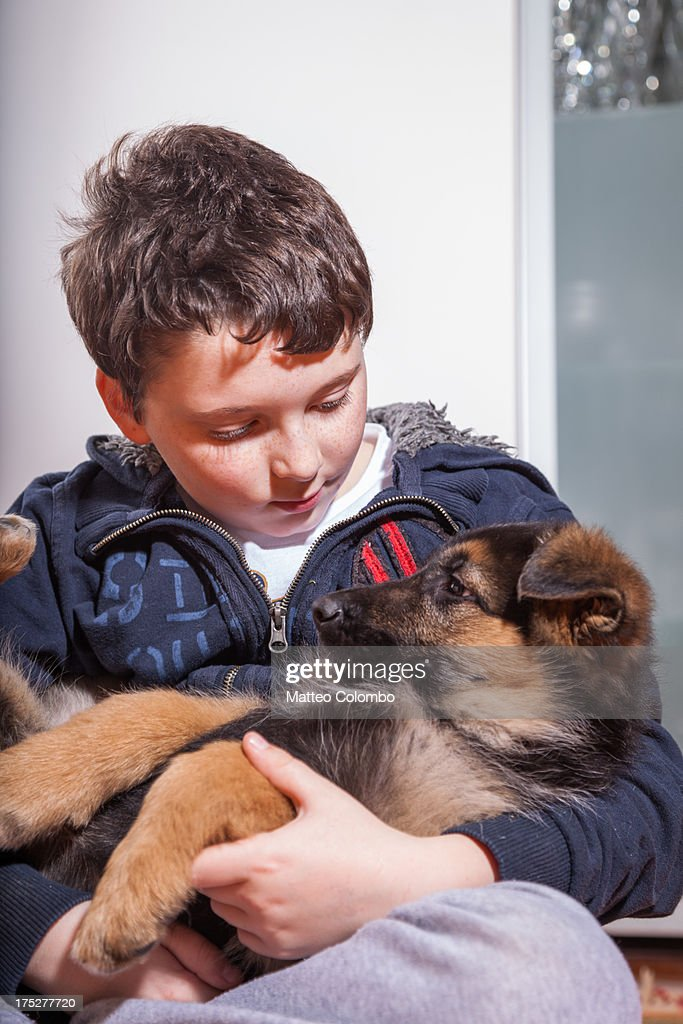 Child holding his german shepherd puppy dog : Stock Photo