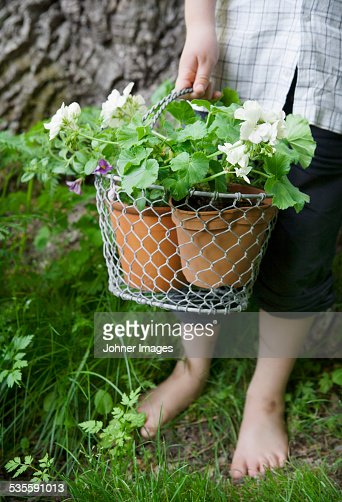 Child holding potted plants