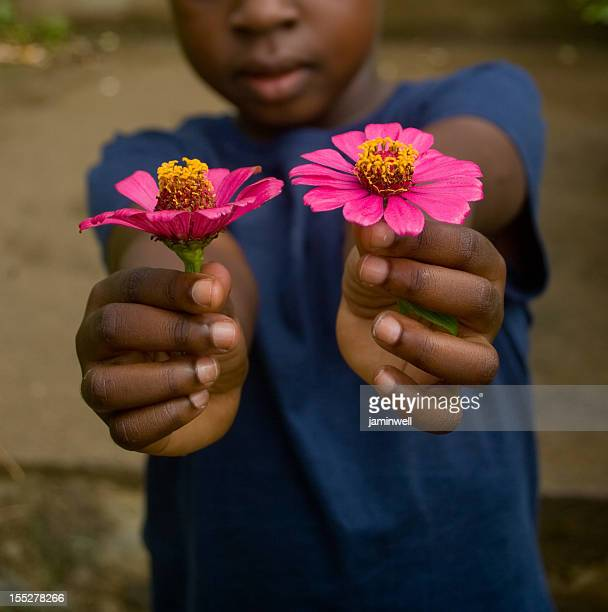 child holding two pink zinnia flowers outdoors