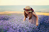 Child in a field of lavender