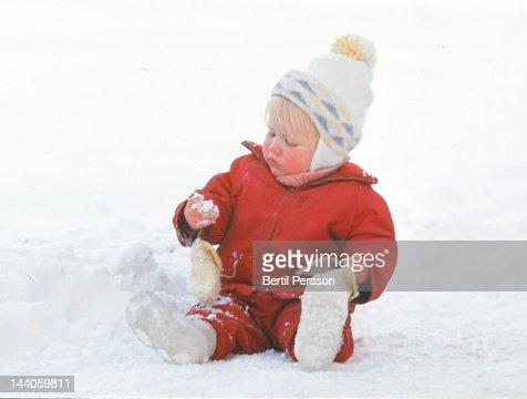 Child in snow : Stock Photo
