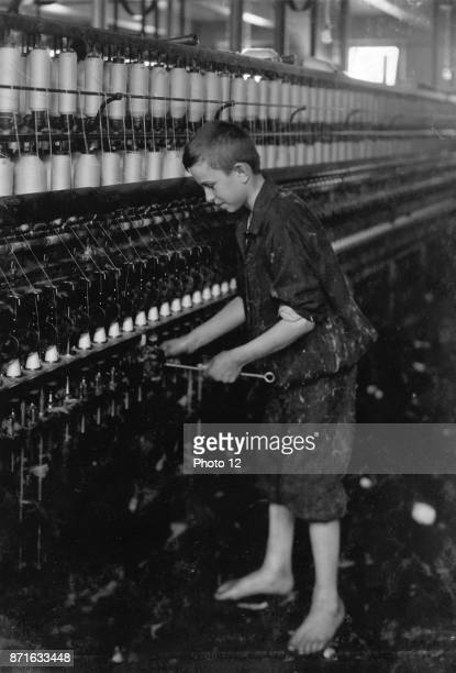 Child labour in the USA Sweeper Spinning Department American Linen Co Fall River Massachusetts 1916 Photo by Lewis W Hine
