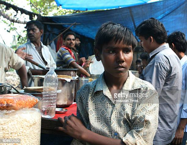 Child Labour Mahesh Sharma calls for customers at the paratha stall near the Air India building Nariman Point