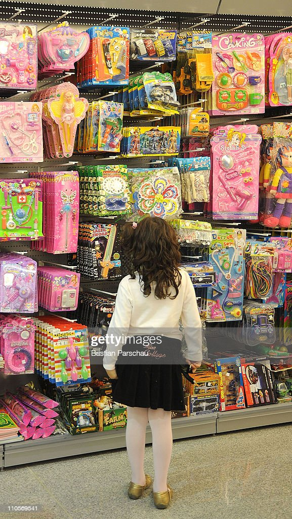 A child looks at toys in a supermarket on March 03, 2011 in Heraklion, Greece.