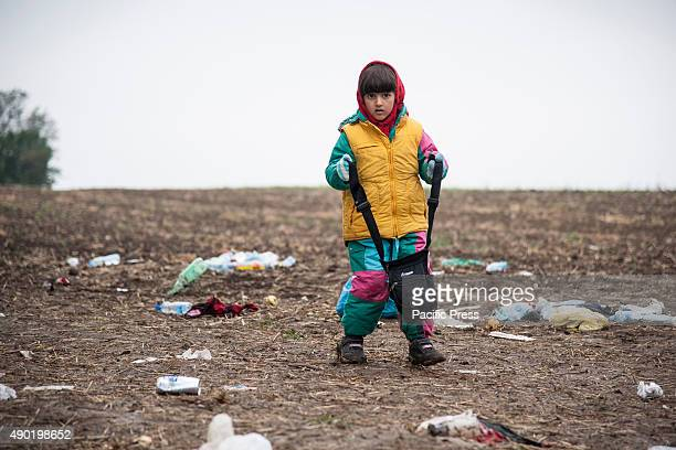 BORDER BAPSKA SYRMIA CROATIA A child on the path leading to the SerbianCroatian border at the refugee camp of Bapska More refugees continue to arrive...