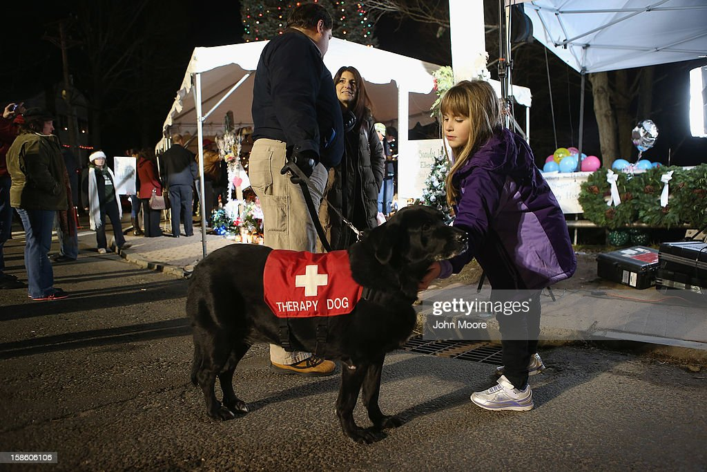 A child pets a therapy dog at a streetside memorial for massacre victims on December 20, 2012 in Newtown, Connecticut. Six funeral services were held Thursday in the Newtown area for some of the 26 students and teachers slain in last Friday's attack.