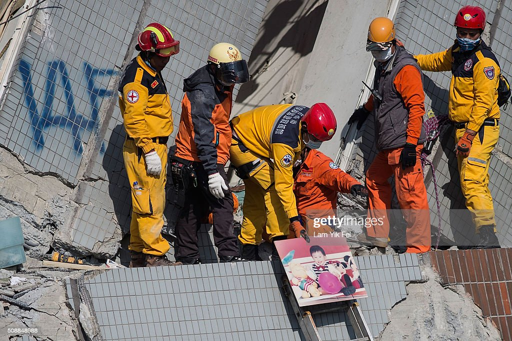 A child picture found from a collapsed building on February 7, 2016 in Tainan, Taiwan. A magnitude 6.4 earthquake hit southern Taiwan early Saturday, toppling several buildings, killing at least fourteen people and leaving over one hundred missing in Tainan.
