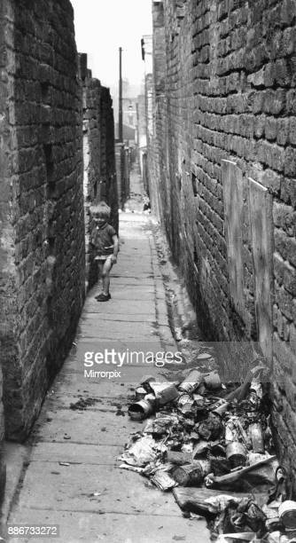 Child playing in alleyway at rear of Gordon Street and Elias Street Toxteth Liverpool 29th June 1962