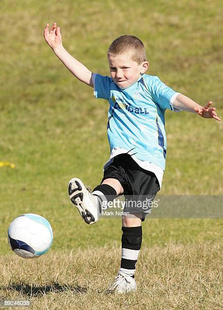 A child plays soccer as a part of the Optus Small Sided Football program announcment between Football Federation Australia and Optus at Heffron Park...