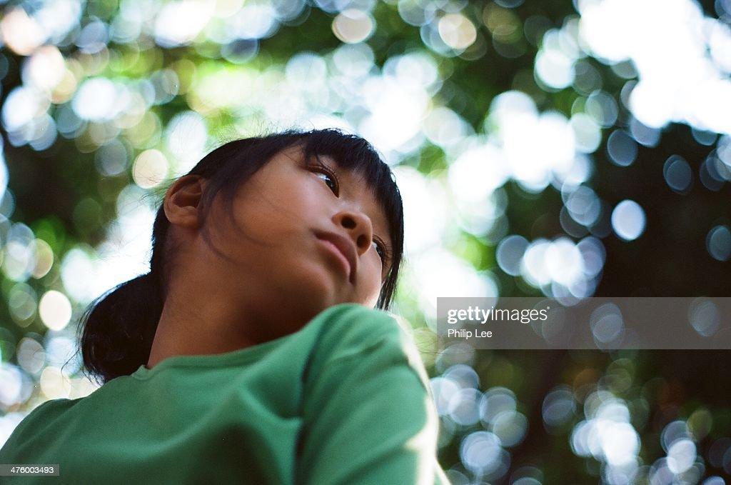 child portrait with bokeh : Stock Photo