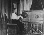 Child prodigy Alyosha Nasedin a 10 year old composer and pianist filmed at Moscow's central studios for an early Russian television broadcast