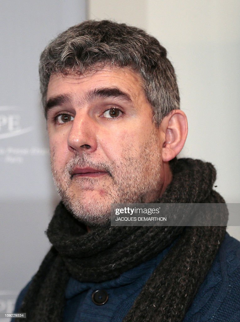 Child psychiatrist Vincent Rouyer attends a press conference on January 10, 2013, in Paris, organised by same-sex marriage opponents prior to a demonstration to be held on January 13 against same-sex marriage. AFP PHOTO/JACQUES DEMARTHON